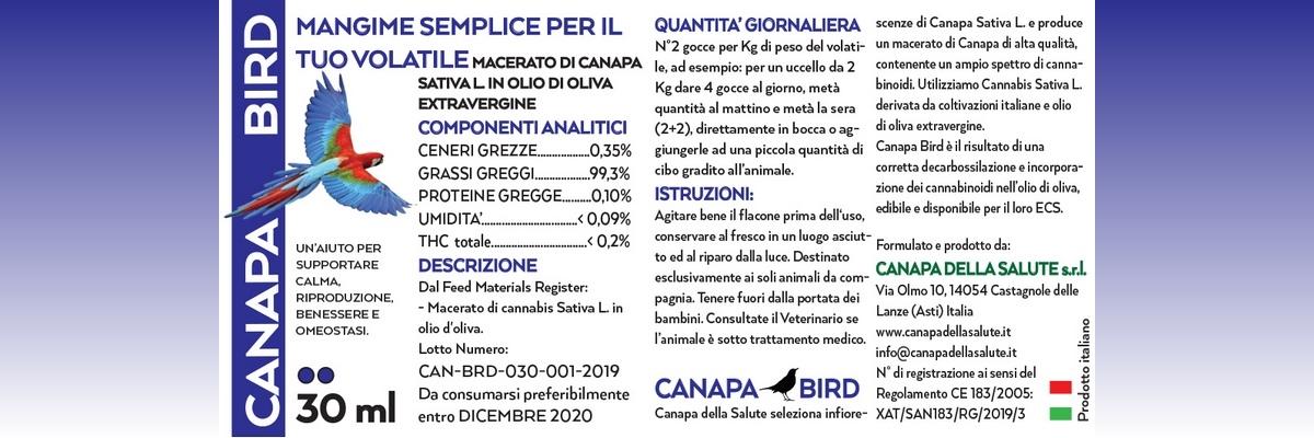 Canapa Bird 30 Ml Etichetta