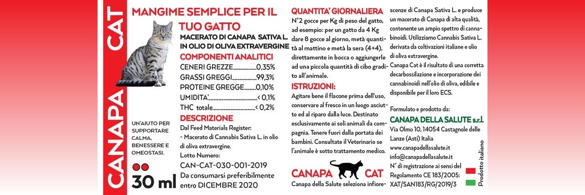 Canapa Cat 30 Ml Etichetta