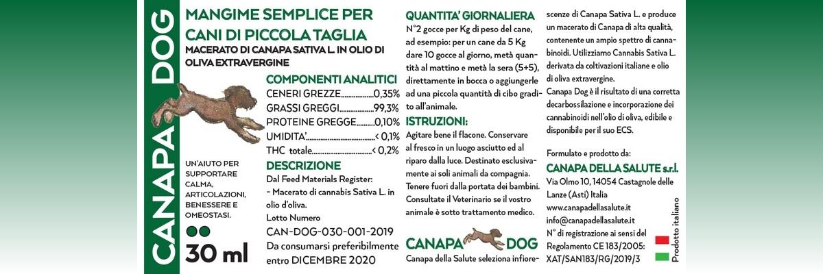 Canapa Dog 30 Ml Etichetta