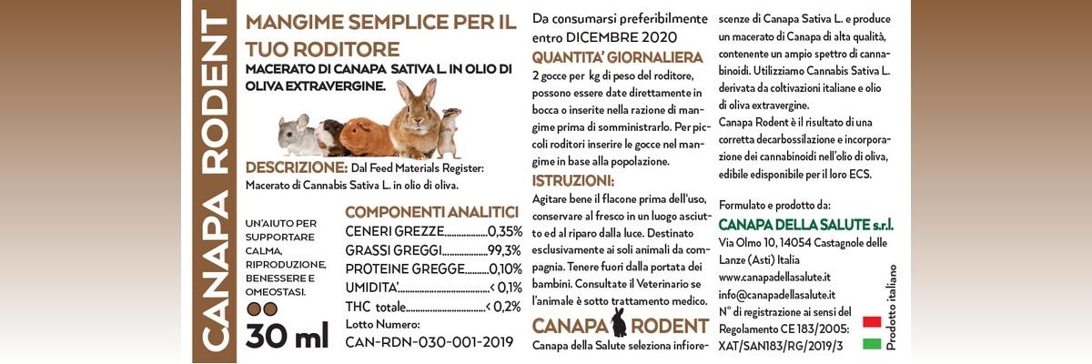 Canapa Rodent 30 Ml Etichetta