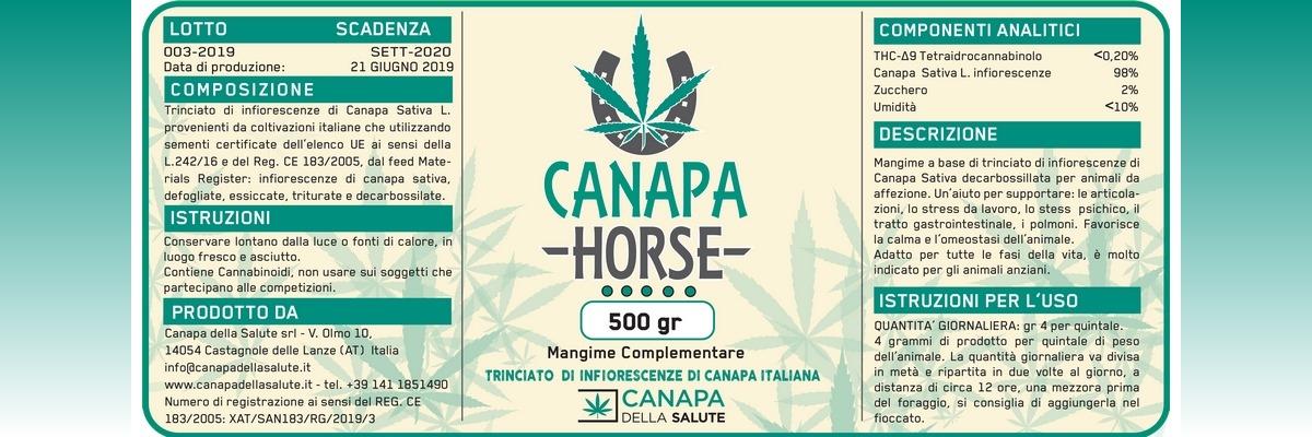 Etichetta CANAPA HORSE 5 Pallini LOTTO 03 2019
